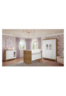 Dormitório Guarda Roupa Ariel 4 Portas Fraldário Berço Gabi Amadeirado Carolina Baby Marrom/Branco
