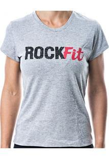 18a60d6bdcd83 Blusa Feminina Rock Fit Cinza