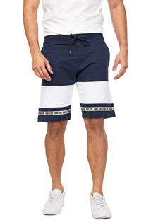 Bermuda Tommy Jeans Reta Recortes Azul-Marinho/Branca