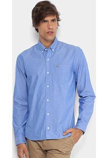 Camisa Lacoste Regular Fit Bolso Masculina - Masculino-Azul f5480ce127