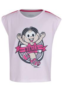Camiseta Oxer Mônica Maratona Feminina - Infantil - Rosa Claro
