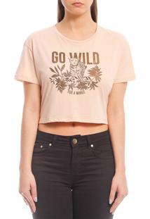 Camiseta Cropped Sommer Go Wild Bege