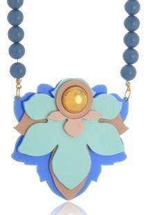 Colar Le Diamond Flor Azul