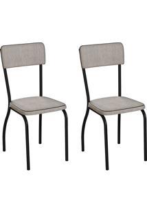 Conjunto Com 2 Cadeiras Nowra Palha E Preto