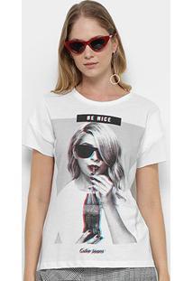 Camiseta Coca-Cola Estampa Be Nice Feminina - Feminino-Branco