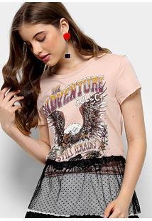 Camiseta Infantil Colcci Estampada Com Tule Feminina - Feminino-Bege