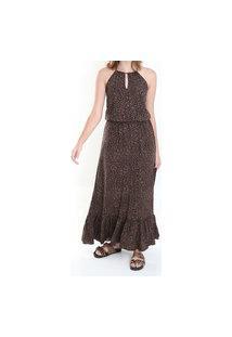 Vestido Longo Lacinho Onça Multicolorido