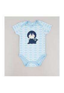 Body Infantil Com Patch De Leão Marinho Estampado De Peixe Manga Curta Azul Claro