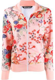 Palm Angels Jaqueta Com Estampa Blooming E Zíper - Rosa