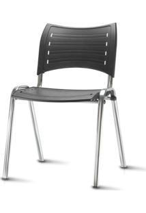 Cadeira Iso Assento Preto Base Cromada - 54039 - Sun House