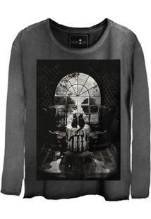 Camiseta Feminina Estonada Manga Longa Skull House