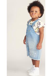 Jardineira Jeans Infantil Bebê Menina Com Bordado