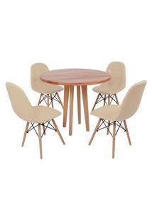 Conjunto Mesa De Jantar Em Madeira 90Cm Com Base Vértice + 4 Cadeiras Botonê - Nude