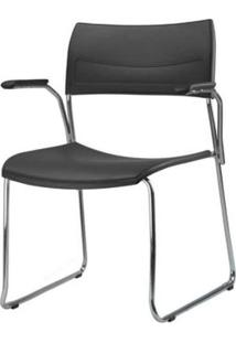 Cadeira Nina Com Bracos Assento Preto Base Fixa Cromada - 54769 Sun House
