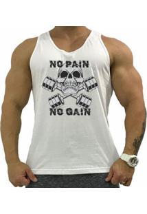 Regata Cavada Mxd Conceito No Pain No Gain Skull Algodão Penteado Masculina - Masculino
