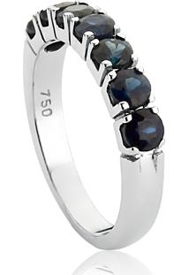 Meia Aliança De Ouro Branco Com Safira Azul-Coleção Rainbow Rings
