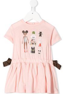 Fendi Kids Vestido Reto Ffriends - Rosa