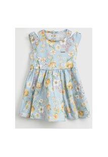 Vestido Colorittá Infantil Floral Azul/Amarelo