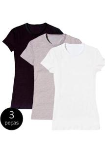 Kit Com 3 Camisetas Baby Look Básica Part.B Gola Redonda Colors Feminina - Feminino