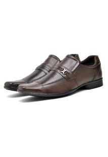Sapato Social Masculino Couro Bico Fino Macio Dia A Dia Marrom