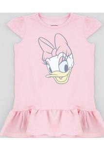 Vestido Infantil Margarida Com Babado Manga Curta Rosa
