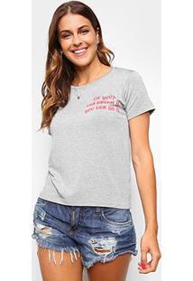 Camiseta Volare Estampada Manga Curta Feminina - Feminino-Mescla