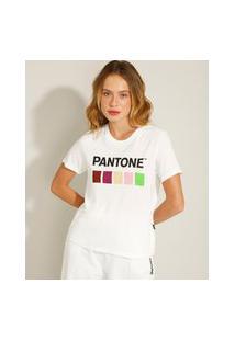 Camiseta Quadrados Manga Curta Decote Redondo Pantone Branca