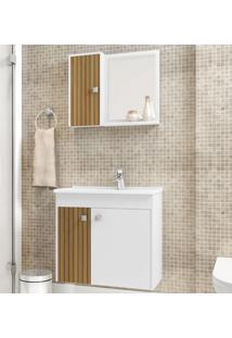 Armário De Banheiro Munique Branco/Marrom - Bechara Móveis