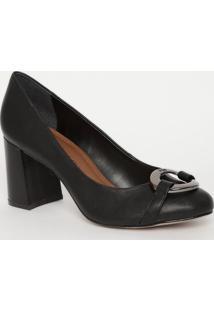 Sapato Aviamento Metalizado- Preto- Salto: 7,5Cmmorena Rosa