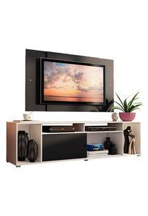 Rack Madesa Cancun E Painel Para Tv Até 58 Polegadas Branco/Preto 738N Preto