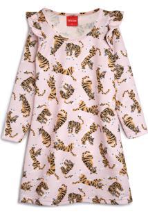 Vestido De Moletom Tricae Infantil Tigre Rosa/Laranja