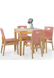 Sala De Jantar Com Mesa E 4 Cadeiras Tucupi 80Cm - Acabamento Stain Natural E Rosa Coral
