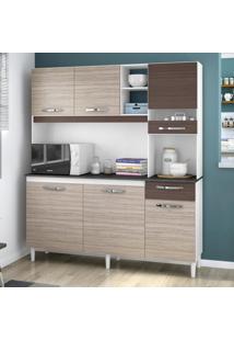 Cozinha Compacta 6 Portas 1 Gaveta Bárbara 439 Amêndoa/Capuccino - Poquema