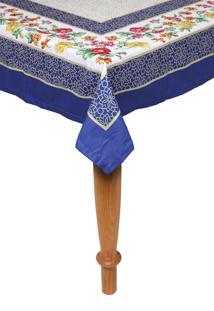 Toalha De Mesa Kacyumara Casa K Olímpia 150X270Cm Branca/Azul