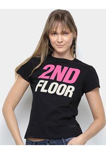 Camiseta Ellus 2Nd Floor Logo Néon Feminina - Feminino-Preto