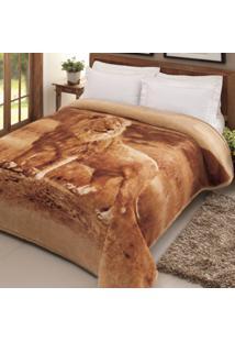 Cobertor Casal Leão Poliéster Microfibra Jolitex 1,80Mx2,20M Ouro