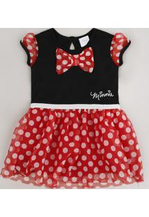 Vestido Infantil Minnie Com Tule Estampado Manga Curta Preto