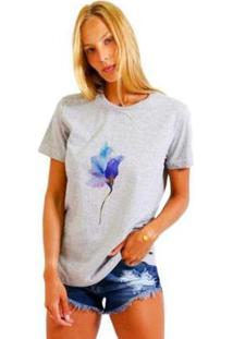 Camiseta Joss Estampada Rose Neon Feminina - Feminino-Mescla