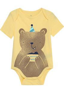 Body Bebê Gap Malha Estampado Masculino - Masculino-Amarelo