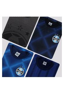 Kit De 4 Camisas Grêmio Azul E Preta