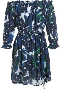 Vestido Isolda Frufru Seda Lily - Marinho