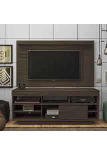 Rack Com Painel Para Tv Até 47 Polegadas 2 Prateleiras Roma Moderno Artely Amêndoa