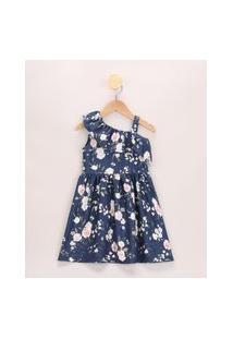 Vestido Infantil Um Ombro Só Estampado Floral Com Babados Azul Marinho