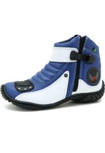 Bota Motociclista Click Calçados Couro Sola De Borracha Azul E Branco