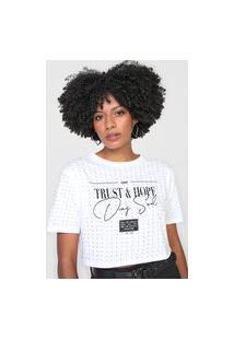 Camiseta Cropped Dimy Trust & Hope Branca
