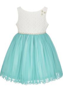 Vestido Infantil De Festa Libelinha Com Renda – Verde.
