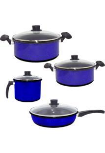 Conjunto De Panelas Esmaltadas, Caneco E Frigideira Azul De Agatha Com 4 Tampas De Vidro