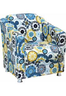 Poltrona Decorativa Lyam Decor Laura Tecido Impermeabilizado Floral Amarelo