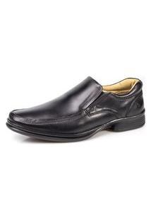 Sapato Social Rafarillo Masculino Couro Liso Solado Borracha Confort Preto