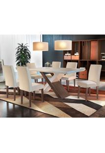 Conjunto De Mesa De Jantar Imperatriz Com 6 Cadeiras Estofadas Grécia Ii Veludo Off White E Creme